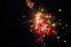 Fireworks in the night. Fireworks lights on the night sky background Royalty Free Stock Photography