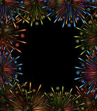Fireworks night frame color. Carnival show template Royalty Free Stock Images