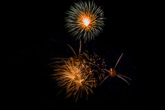 Fireworks in the night.New Year celebration fireworks,Colorful fireworks over dark sky, displayed during a celebration event. Fireworks in the night.Fireworks in Stock Image