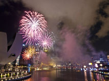 Fireworks At Night Over Singapore Marina Barrage Stock Image