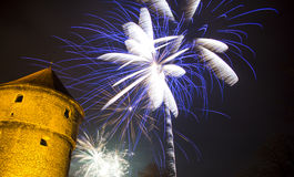 Fireworks at night. Fireworks over a tower at night Stock Images