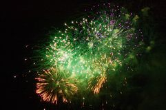 Fireworks in night sky Stock Photography