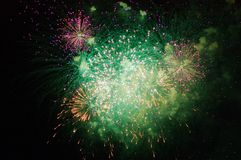 Fireworks in night sky. On French Day, Annecy, France Stock Photo