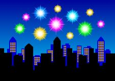 Fireworks on night sky. Colorful fireworks on night blue sky Royalty Free Stock Images