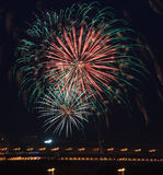 Fireworks in the night sky. Royalty Free Stock Images