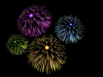 Fireworks in night sky. Brilliant fireworks in night sky Stock Image