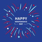 Fireworks night sky. Happy independence day United states of America. 4th of July. Star and strip Flat design. Blue background. Vector illustration Stock Photography