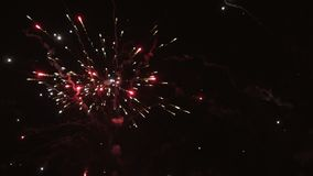 The fireworks in the night sky stock video