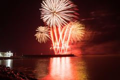 Fireworks in the night sky on the Saint Nilolas day over the port stock images