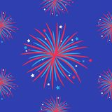 Fireworks night sky Seamless pattern. Happy independence day United states of America. 4th of July. Star and strip Flat design. Bl. Ue background. Vector Stock Illustration