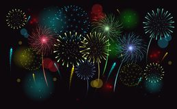 Fireworks in the night sky. Vector clipart stock illustration
