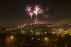 Fireworks at night in Viseu. New years holidays Royalty Free Stock Image