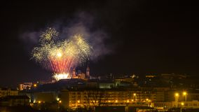 Fireworks at night in Viseu. Portugal Stock Images