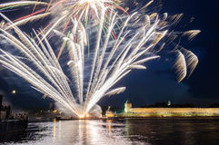 Fireworks in the Novgorod Kremlin on the celebration of the first Russian Hanseatic days Stock Image