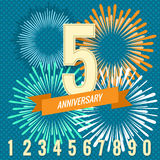 Fireworks and numbers anniversary banners Stock Images