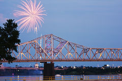 Fireworks by Ohio River. Iby Kentucky/Indiana border bridge on Ohio River royalty free stock images