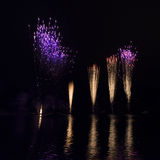 Fireworks at olympic lake Royalty Free Stock Photo