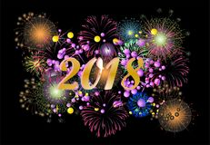 Fireworks On New Year`s Day Royalty Free Stock Images