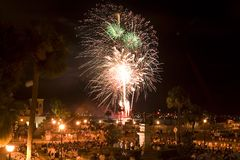 Fireworks One. Fireworks at night in St. Augustine, FL One stock image