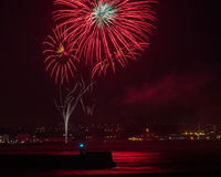 Fireworks over Aberdeen harbour UK Stock Photography