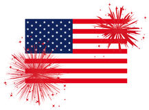 Fireworks over american flag. Red fireworks over USA flag Royalty Free Stock Photos