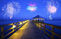 Fireworks over Apalachicola, Florida. Apalachicola sea landscape in Florida, United States Stock Photo