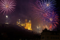 Fireworks over the basilica Royalty Free Stock Photos