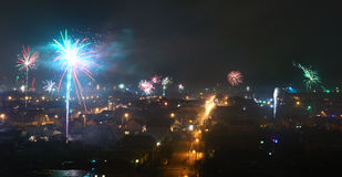 Fireworks over Bataysk Royalty Free Stock Images