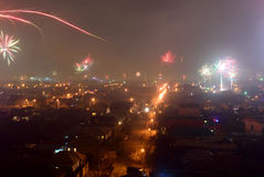 Fireworks over Bataysk Royalty Free Stock Photos