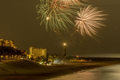 Fireworks over a beach Royalty Free Stock Photography