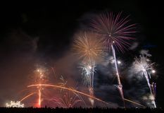 Fireworks over beach. Fireworks on Vilagarcia beach in Pontevedra Spain, at night Stock Photography