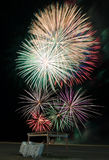 Fireworks over beach on Independence day Royalty Free Stock Photography