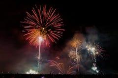 Fireworks on the beach. Fireworks over beach in Vilagarcia, Pontevedra, Spain Royalty Free Stock Photos