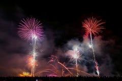 Fireworks on the beach. Fireworks over beach in Vilagarcia, Pontevedra, Spain Royalty Free Stock Photo