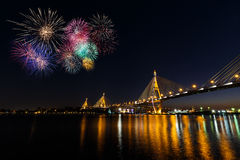 Fireworks over Bhumibol Bridge or Industrial Ring Road bridge Stock Photography