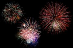 Fireworks over Black Royalty Free Stock Images