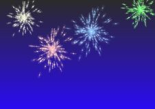 Fireworks over a blue sky. 3D illustration Stock Image