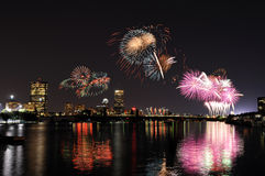 Fireworks Over Boston. Reflections on Charles River Stock Photo