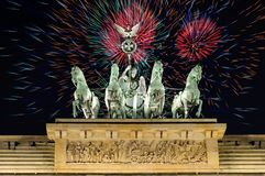 Fireworks over Brandenburg Gate in Berlin Royalty Free Stock Images