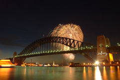 Fireworks over the bridge royalty free stock photography