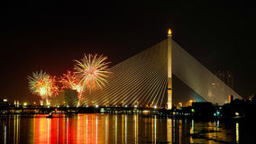 Fireworks over the bridge Royalty Free Stock Photo