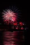 Fireworks over bridge Royalty Free Stock Photos
