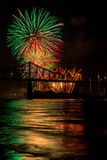 Fireworks over bridge. Fireworks over a bridge illuminate the night Royalty Free Stock Photo