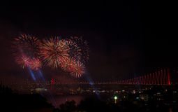 Fireworks over bridge in Istanbul, Turkey Royalty Free Stock Photography
