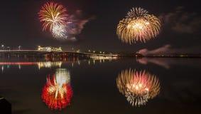 Fireworks over bridge Stock Photos