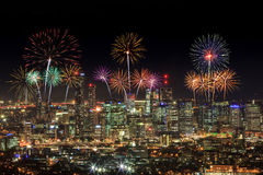 Fireworks over Brisbane City from Mount Coot-tha. Queensland, Au Stock Image