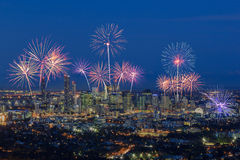 Fireworks over Brisbane City from Mount Coot-tha. Queensland, Au Stock Photography