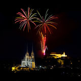 Fireworks over Brno Royalty Free Stock Photos