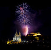 Fireworks over Brno Stock Images