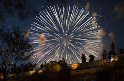 Fireworks over the building. New year's fireworks in St. Petersburg Royalty Free Stock Image
